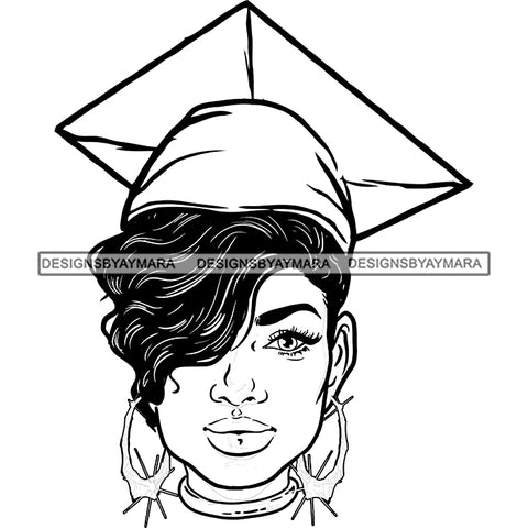 Afro Woman Graduate Wearing Cap Academic Achievement Graduation Short Side Hairstyle B/W SVG JPG PNG Cutting Files For Silhouette Cricut More