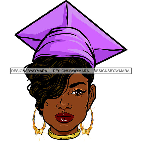 Afro Woman Graduate Wearing Cap Academic Achievement Graduation Short Side Hairstyle SVG JPG PNG Cutting Files For Silhouette Cricut More