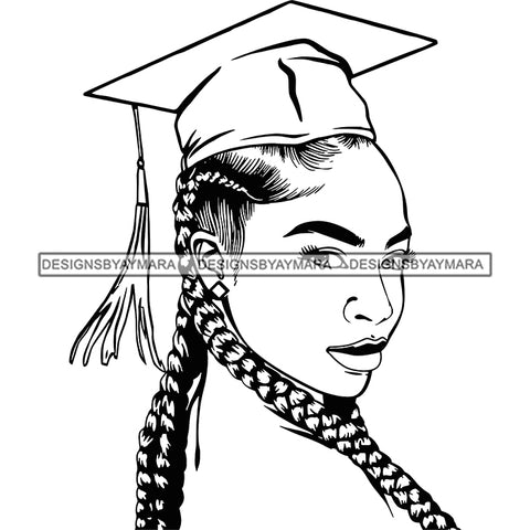 Afro Woman Graduate Side View Wearing Cap Academic Achievement Graduation Long Braids Hairstyle B/W SVG JPG PNG Cutting Files For Silhouette Cricut More