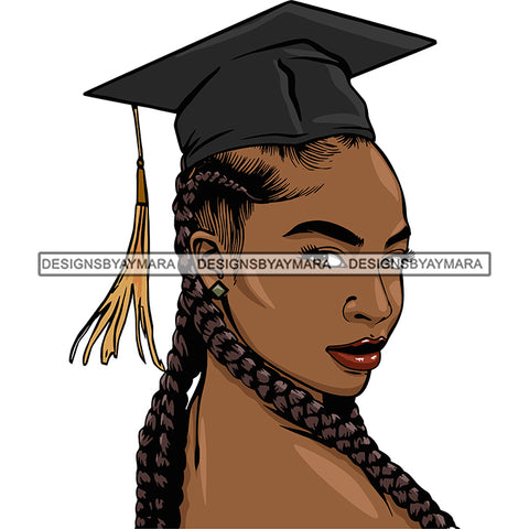 Afro Woman Graduate Side View Wearing Cap Academic Achievement Graduation Long Braids Hairstyle SVG JPG PNG Cutting Files For Silhouette Cricut More