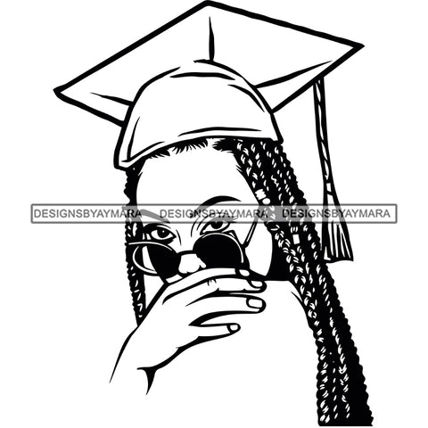 Afro Woman Graduate Wearing Cap Sunglasses Achievement Graduation Long Dreadlocks Hairstyle B/W SVG JPG PNG Cutting Files For Silhouette Cricut More