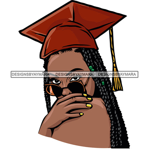 Afro Woman Graduate Wearing Cap Sunglasses Achievement Graduation Long Dreadlocks Hairstyle SVG JPG PNG Cutting Files For Silhouette Cricut More