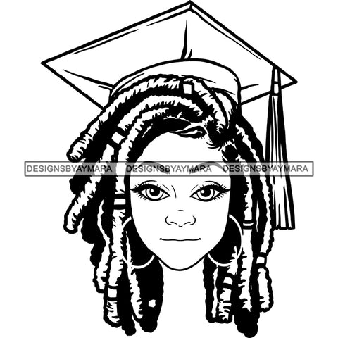 Afro Woman Graduate Wearing Cap Academic Achievement Diploma Graduation Dreadlocks Hairstyle B/W SVG JPG PNG Cutting Files For Silhouette Cricut More