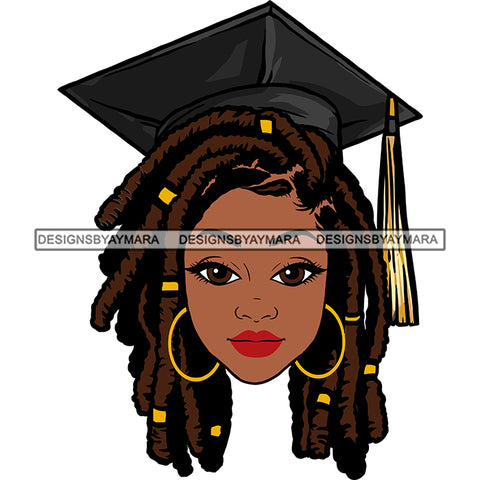 Afro Woman Graduate Wearing Grey Cap Academic Achievement Diploma Graduation Dreadlocks Hairstyle SVG JPG PNG Cutting Files For Silhouette Cricut More