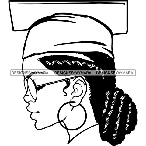 Afro Woman Graduate Wearing Cap Side View Academic Achievement Graduation Locks Bun Hairstyle B/W SVG JPG PNG Cutting Files For Silhouette Cricut More