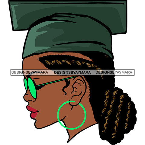 Afro Woman Graduate Wearing Cap Side View Academic Achievement Graduation Locks Bun Hairstyle SVG JPG PNG Cutting Files For Silhouette Cricut More