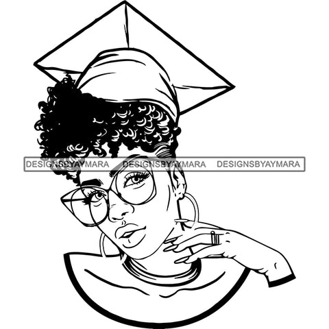 Afro Woman Graduate Wearing Cap Academic Achievement Graduation Sunglasses Up Do Hairstyle B/W SVG JPG PNG Cutting Files For Silhouette Cricut More