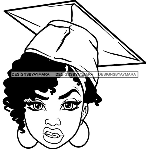 Afro Woman Graduate Wearing Cap Mean Face Academic Achievement Graduation Short Curly Hairstyle B/W SVG JPG PNG Cutting Files For Silhouette Cricut More