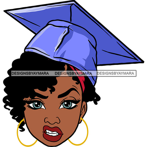 Afro Woman Graduate Wearing Cap Mean Face Academic Achievement Graduation Short Curly Hairstyle SVG JPG PNG Cutting Files For Silhouette Cricut More