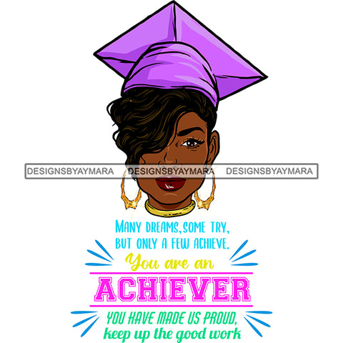 Afro Woman Graduate Wearing Cap Life Quotes Academic Achievement Diploma Graduation Short Hairstyle SVG JPG PNG Cutting Files For Silhouette Cricut More