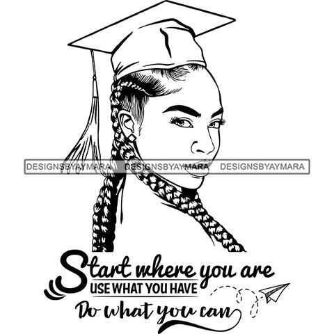 Afro Woman Graduate Wearing Cap Side View Life Quotes Academic Achievement Diploma Graduation Braids Hairstyle B/W SVG JPG PNG Cutting Files For Silhouette Cricut More