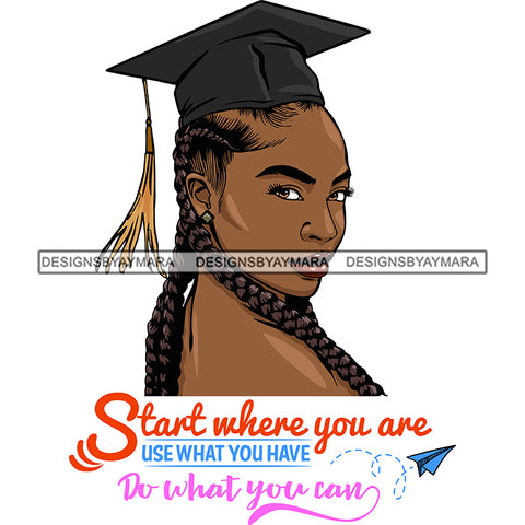 Afro Woman Graduate Wearing Cap Side View Life Quotes Academic Achievement Diploma Graduation Braids Hairstyle SVG JPG PNG Cutting Files For Silhouette Cricut More