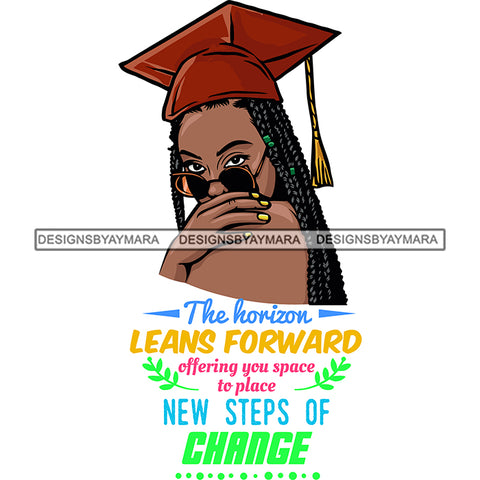 Afro Woman Graduate Wearing Cap Side View Sunglasses Life Quotes Academic Achievement Diploma Graduation Braids Hairstyle SVG JPG PNG Cutting Files For Silhouette Cricut More