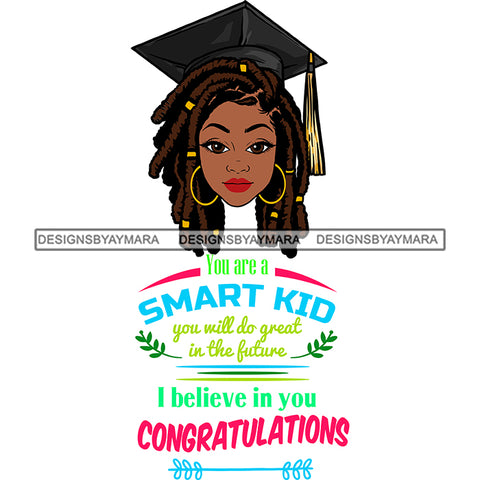 Afro Woman Graduate Wearing Cap Life Quotes Academic Achievement Diploma Graduation Dreadlocks Hairstyle SVG JPG PNG Cutting Files For Silhouette Cricut More