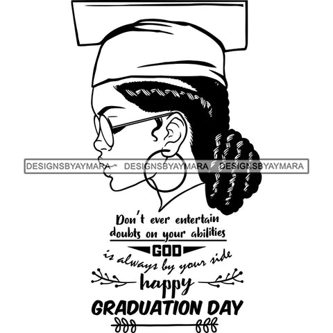 Afro Woman Graduate Wearing Cap Side View Sunglasses Life Quotes Academic Achievement Diploma Graduation Locks Bun Hairstyle B/W SVG JPG PNG Cutting Files For Silhouette Cricut More