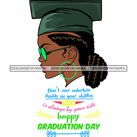 Afro Woman Graduate Wearing Cap Side View Sunglasses Life Quotes Academic Achievement Diploma Graduation Locks Bun Hairstyle SVG JPG PNG Cutting Files For Silhouette Cricut More