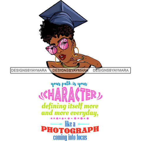 Afro Woman Graduate Wearing Cap Sunglasses Life Quotes Academic Achievement Diploma Graduation Curly Hairstyle SVG JPG PNG Cutting Files For Silhouette Cricut More