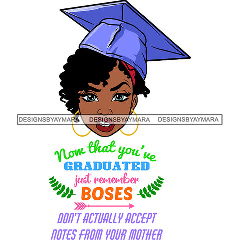 Afro Woman Graduate Wearing Cap Life Quotes Academic Achievement Diploma Graduation Curly Hairstyle SVG JPG PNG Cutting Files For Silhouette Cricut More
