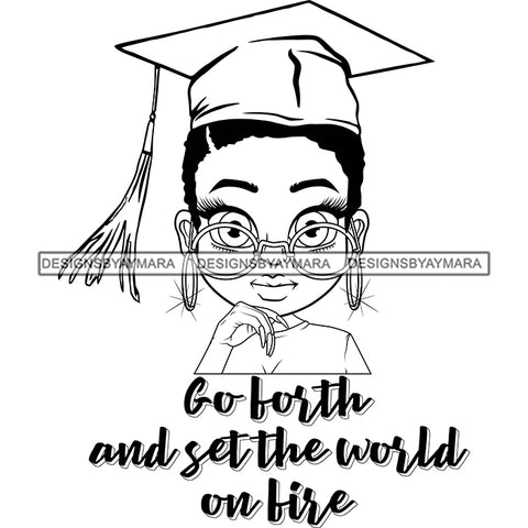 Afro Woman Graduate Wearing Cap Big Eyes Glasses Life Quotes Achievement Graduation Short Hairstyle B/W SVG JPG PNG Cutting Files For Silhouette Cricut More