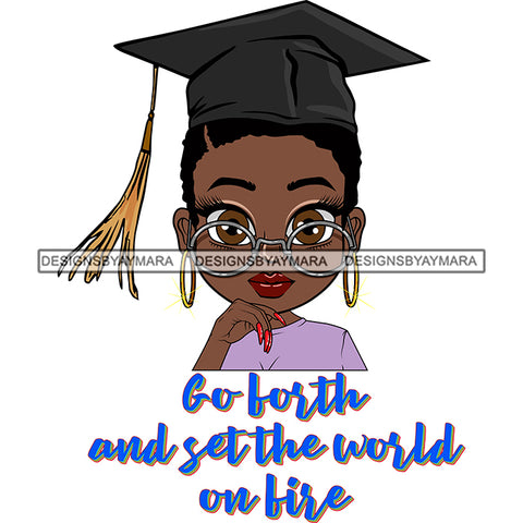 Afro Woman Graduate Wearing Cap Big Eyes Glasses Life Quotes Achievement Graduation Short Hairstyle SVG JPG PNG Cutting Files For Silhouette Cricut More