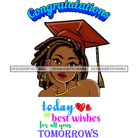 Afro Woman Graduate Wearing Cap Life Quotes Achievement Graduation Dreadlocks Hairstyle SVG JPG PNG Cutting Files For Silhouette Cricut More