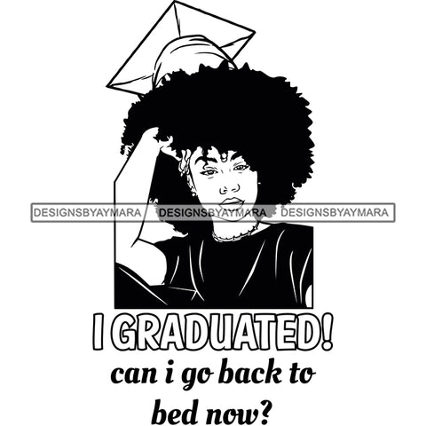 Afro Woman Graduate Wearing Cap Academic Achievement Diploma Graduation Afro Hairstyle B/W SVG JPG PNG Cutting Files For Silhouette Cricut More