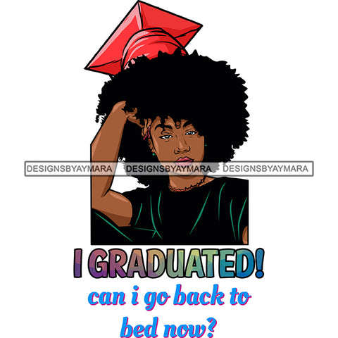Afro Woman Graduate Wearing Cap Academic Achievement Diploma Graduation Afro Hairstyle SVG JPG PNG Cutting Files For Silhouette Cricut More
