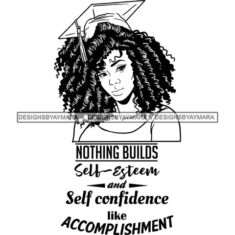 Afro Woman Graduate Wearing Cap Academic Achievement Diploma Graduation Coily Hairstyle B/W SVG JPG PNG Cutting Files For Silhouette Cricut More