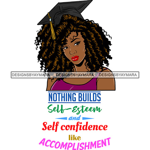 Afro Woman Graduate Wearing Cap Academic Achievement Diploma Graduation Coily Hairstyle SVG JPG PNG Cutting Files For Silhouette Cricut More