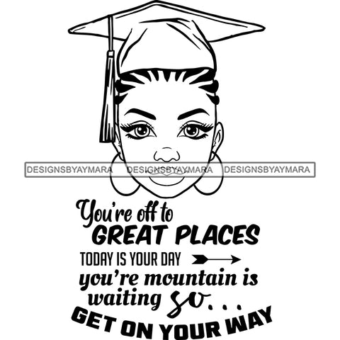 Afro Woman Graduate Wearing Cap Academic Achievement Diploma Graduation Cornrows Hairstyle B/W SVG JPG PNG Cutting Files For Silhouette Cricut More