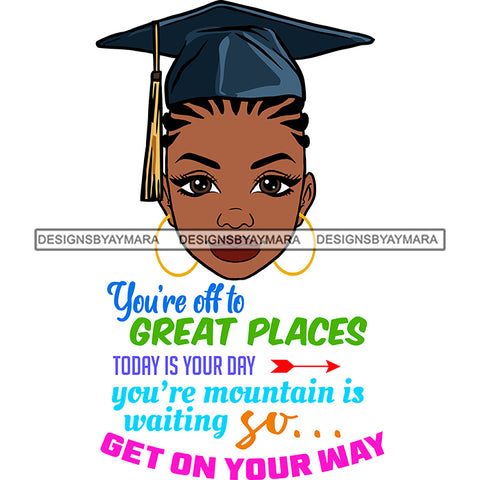 Afro Woman Graduate Wearing Cap Academic Achievement Diploma Graduation Cornrows Hairstyle SVG JPG PNG Cutting Files For Silhouette Cricut More