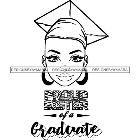Afro Woman Graduate Wearing Cap Academic Achievement Diploma Graduation Bald Hairstyle B/W SVG JPG PNG Cutting Files For Silhouette Cricut More