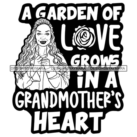 Grandma Love Heart Happy Mother's Day Celebration Granny Life Quotes B/W SVG JPG PNG Vector Clipart Cricut Silhouette Cut Cutting