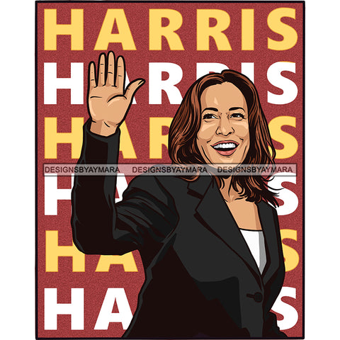 VP Kamala Harris Waving Color Background JPG PNG  Clipart Cricut Silhouette Cut Cutting