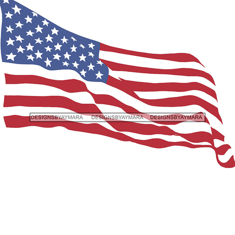 American Flag Waving USA  JPG PNG  Clipart Cricut Silhouette Cut Cutting