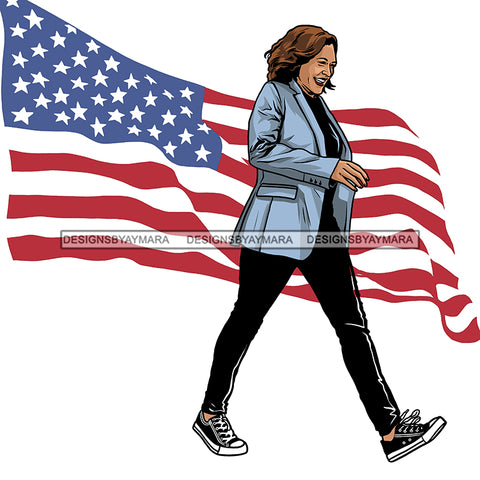 Kamala Harris Stepping In Her Chucks Flag Waving JPG PNG  Clipart Cricut Silhouette Cut Cutting