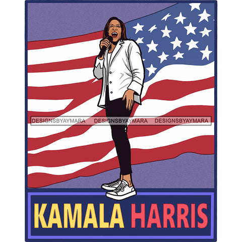 Kamala Harris Speaking USA Flag JPG PNG  Clipart Cricut Silhouette Cut Cutting
