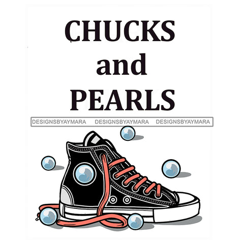 Chucks And Pearls JPG PNG  Clipart Cricut Silhouette Cut Cutting
