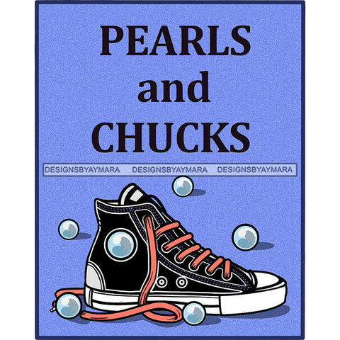 Chucks And Pearls Blue Background JPG PNG  Clipart Cricut Silhouette Cut Cutting