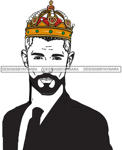 Jeweled Crown On White Man In Suit JPG PNG  Clipart Cricut Silhouette Cut Cutting