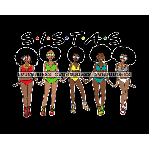 Sista's With Afro In Bathing Suits JPG PNG  Clipart Cricut Silhouette Cut Cutting