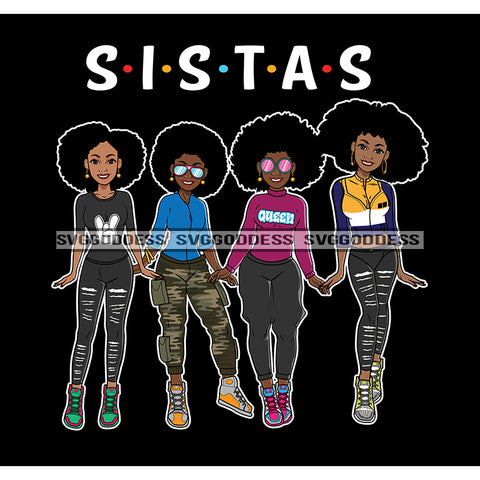 Sista's With Afro In Long Pants JPG PNG  Clipart Cricut Silhouette Cut Cutting