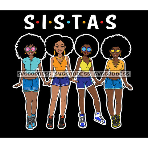 Sista's With Afro In Shorts JPG PNG  Clipart Cricut Silhouette Cut Cutting