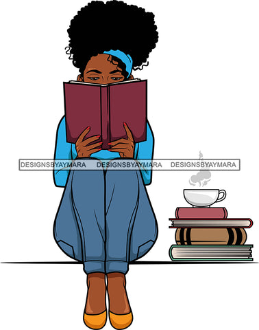 Afro Lola Reading A Book Education Smart Woman Drinking Coffee .SVG Cutting Files For Silhouette Cricut and More!