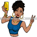 Afro Lola Taking A Selfie Peace Sign Beautiful Black Woman SVG Cutting Files For Silhouette Cricut and More