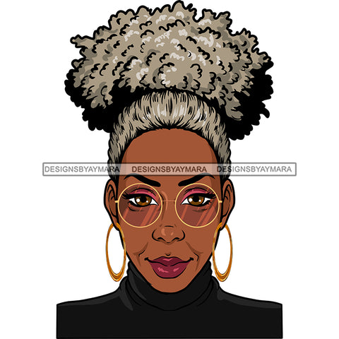 Afro Woman Mature Portrait Nubian Classy Flawless Grey Puffy Up Do Hairstyle SVG JPG PNG Designs Cricut Silhouette Cut Cuttings