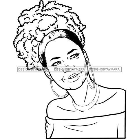 Afro Woman Mature Portrait Nubian Classy Flawless Puffy Up Do Hairstyle B/W SVG JPG PNG Designs Cricut Silhouette Cut Cuttings