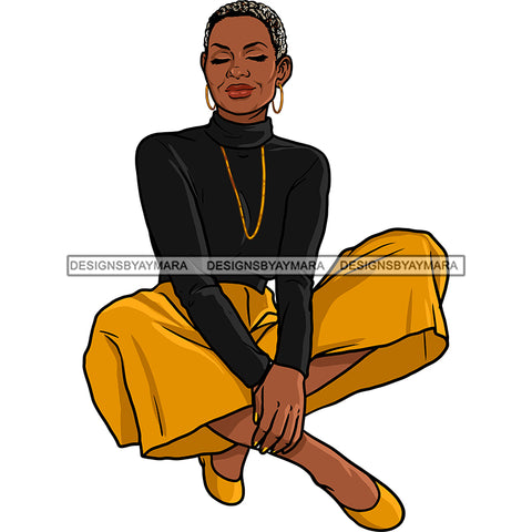 Afro Woman Mature Sitting Down Nubian Classy Flawless Short Hairstyle SVG JPG PNG Designs Cricut Silhouette Cut Cuttings