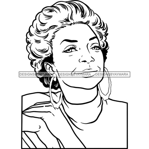 Afro Woman Mature Portrait Nubian Classy Flawless Short Hairstyle B/W SVG JPG PNG Designs Cricut Silhouette Cut Cuttings