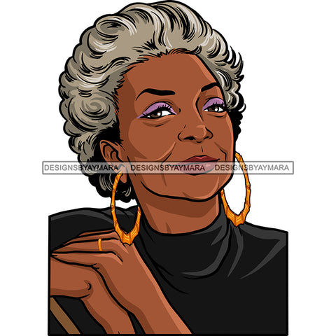 Afro Woman Mature Portrait Nubian Classy Flawless Grey Short Hairstyle SVG JPG PNG Designs Cricut Silhouette Cut Cuttings